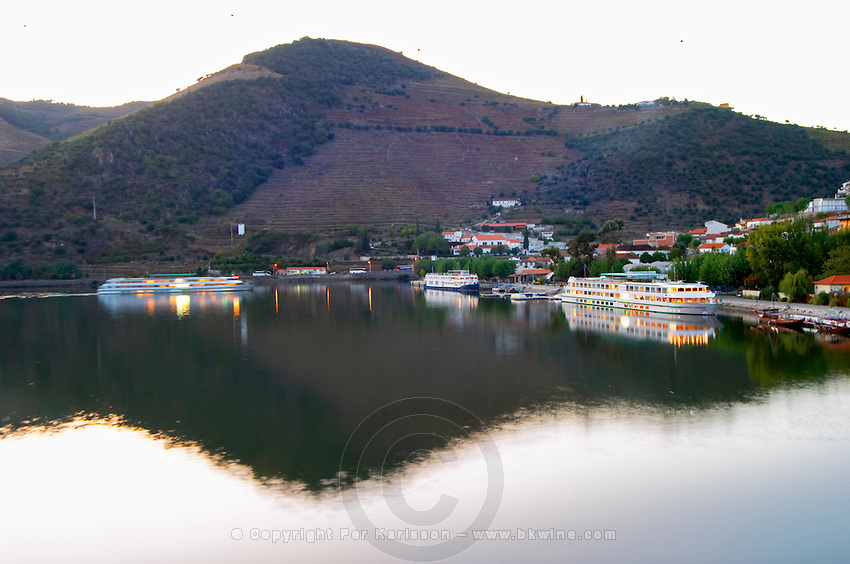 douro river and steep vineyards, pinhao town douro portugal