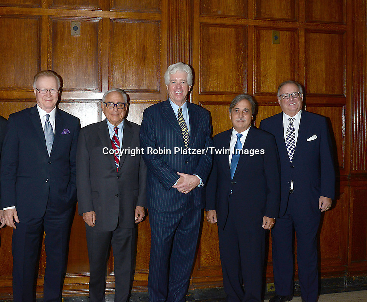 honorees Chuck Scarborough, Fred Silverman, Peter Smyth, Raul Alarcon, Jr and David Barrett attend the Library of American Broadcasting Annual Giants of Broadcasting Luncheon on October 16, 2014 at Gotham Hall in New York City. <br /> <br /> photo by Robin Platzer/Twin Images<br />  <br /> phone number 212-935-0770