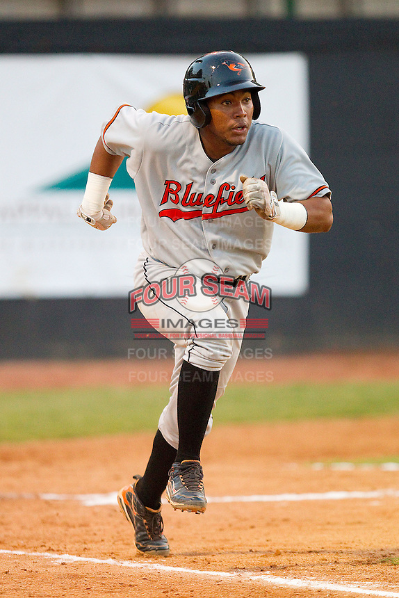 Janensis Guerrero #36 of the Bluefield Orioles hustles down the first base line against the Bristol White Sox at Boyce Cox Field August 27, 2010, in Bristol, Tennessee.  Photo by Brian Westerholt / Four Seam Images