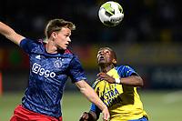 LEEUWARDEN - Voetbal, SC Cambuur - Jong Ajax, Cambuur stadion, seizoen 2017-2018, 18-08-2017, SC Cambuur speler Issa Kallon met Jong Ajax speler Robin Schouten