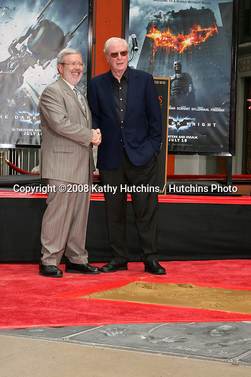 Leonard Maltin & Michael Caine  at  Michael's Handprint and Footprint Ceremony   at Grauman's Chinese Theater in Hollywood, CA on.July 11, 2008.©2008 Kathy Hutchins / Hutchins Photo .
