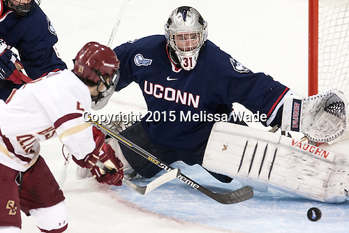 (Gaudreau) Rob Nichols (UConn - 31) - The Boston College Eagles defeated the visiting University of Connecticut Huskies 3-2 on Saturday, January 24, 2015, at Kelley Rink in Conte Forum in Chestnut Hill, Massachusetts.