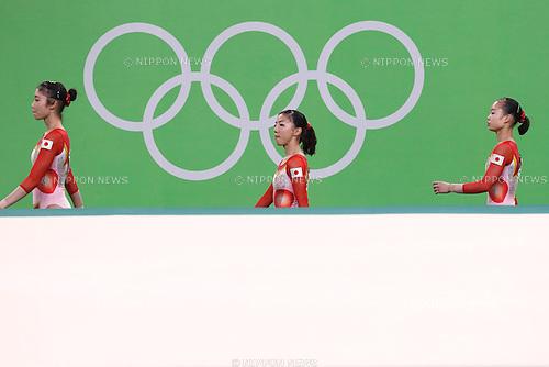 (L-R) Yuki Uchiyama, Asuka Teramoto, Sae Miyakawa (JPN), <br /> AUGUST 9, 2016 - Artistic Gymnastics : <br /> Women's Final <br /> Floor Exercise <br /> at Rio Olympic Arena <br /> during the Rio 2016 Olympic Games in Rio de Janeiro, Brazil. <br /> (Photo by Sho Tamura/AFLO SPORT)