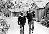 Foreign Minister Moshe Dayan of Israel, left, and Defense Minister Ezer Weizman of Israel, right, walk from Dogwood Lodge after mrrting President Anwar Sadat of Egypt at Camp David, near Thurmont, Maryland prior to their meeting on Thursday, September 14, 1978..Credit: White House via CNP