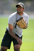 """February 26, 2009:  India pitcher Dinesh Patel of the Pittsburgh Pirates organization working out during Spring Training at Pirate City in Bradenton, FL.   Patel came in second during the reality TV show """"The Million Dollar Arm"""" and was signed by the Pirates in 2009.  Photo by:  Mike Janes/Four Seam Images"""