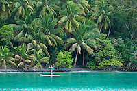 Stand up Paddle boarder.Virgin Islands National Park.Maho Bay, St. John.U.S. Virgin Islands