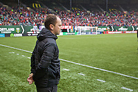 Portland, OR - Saturday, May 21, 2016: Portland Thorns FC head coach Mark Parsons. The Portland Thorns FC defeated the Washington Spirit 4-1 during a regular season National Women's Soccer League (NWSL) match at Providence Park.