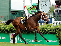 LOUISVILLE, KY - MAY 06: Arklow #6, ridden by Mike Smith, wins the American Turf Stakes  on Kentucky Derby Day at Churchill Downs on May 6, 2017 in Louisville, Kentucky. (Photo by Candice Chavez/Eclipse Sportswire/Getty Images)