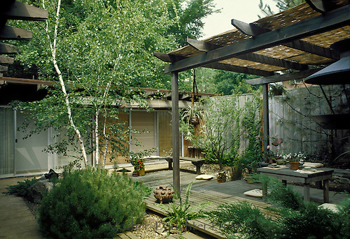 Backyard with arbor and table