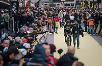 World Champion Peter Sagan (SVK/Bora-Hansgrohe) rolling towards the race start<br /> <br /> 102nd Ronde van Vlaanderen 2018 (1.UWT)<br /> Antwerpen - Oudenaarde (BEL): 265km