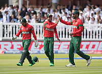 Mehedi Hasan Miraz (Bangladesh) is congratulated by Tamim Iqbal (Bangladesh) on his catch to dismiss Fakhar Zaman (Pakistan) during Pakistan vs Bangladesh, ICC World Cup Cricket at Lord's Cricket Ground on 5th July 2019