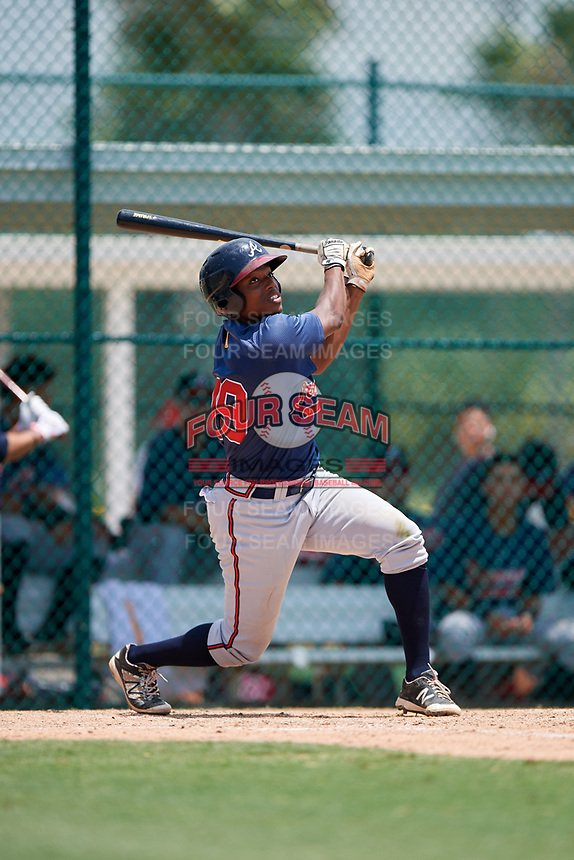 GCL Braves second baseman Jeremy Fernandez (79) hits a foul ball during a game against the GCL Pirates on July 26, 2017 at Pirate City in Bradenton, Florida.  GCL Braves defeated the GCL Pirates 12-5.  (Mike Janes/Four Seam Images)