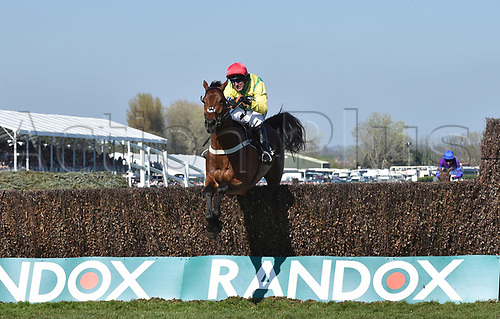 April 8th 2017, Aintree Racecourse, Liverpool, England; Randox Health Grand National Festival Horse racing, Grand National Day; Winner Sizing Codelco ridden by Robbie Power is first over the final hurdle in the Betware Handicap Chase