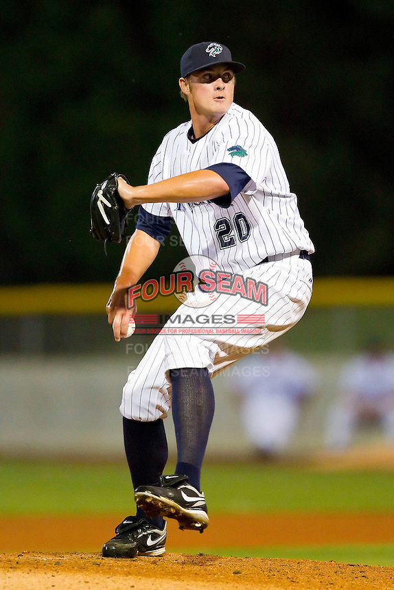 Relief pitcher Addison Reed #20 of the Charlotte Knights in action against the Indianapolis Indians at Knights Stadium on July 26, 2011 in Fort Mill, South Carolina.  The Knights defeated the Indians 5-4.   (Brian Westerholt / Four Seam Images)