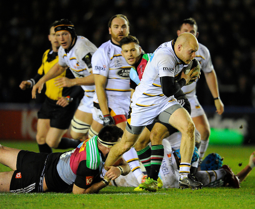 iWasps' Joe Simpson scores his sides second try <br /> <br /> Photographer Ashley Western/CameraSport<br /> <br /> Rugby Union - European Rugby Champions Cup - Pool 2 - Harlequins v Wasps - Saturday 17th January 2015 - The Stoop - London<br /> <br /> &copy; CameraSport - 43 Linden Ave. Countesthorpe. Leicester. England. LE8 5PG - Tel: +44 (0) 116 277 4147 - admin@camerasport.com - www.camerasport.com
