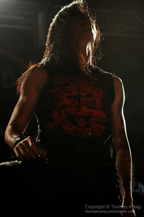 Puli, Taiwan -- Freddy Lim, lead singer of the Taiwanese Black Metal band ChthoniC, on stage during the 'Final Battle at Sing Ling Temple' concert in Puli, Nantou county.