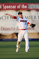 Mike Trout (27) of the Los Angeles Angels throws a ball in the outfield during a rehab game for the Inland Empire 66ers against the Rancho Cucamonga Quakes at San Manuel Stadium on July 9, 2017 in San Bernardino, California. Inland Empire defeated Rancho Cucamonga 12-2. (Larry Goren/Four Seam Images)