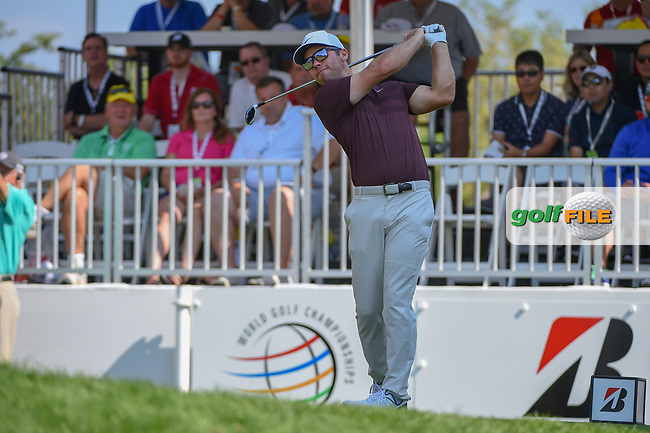 Paul Casey (GBR) watches his tee shot on 1 during 3rd round of the World Golf Championships - Bridgestone Invitational, at the Firestone Country Club, Akron, Ohio. 8/4/2018.<br /> Picture: Golffile | Ken Murray<br /> <br /> <br /> All photo usage must carry mandatory copyright credit (© Golffile | Ken Murray)