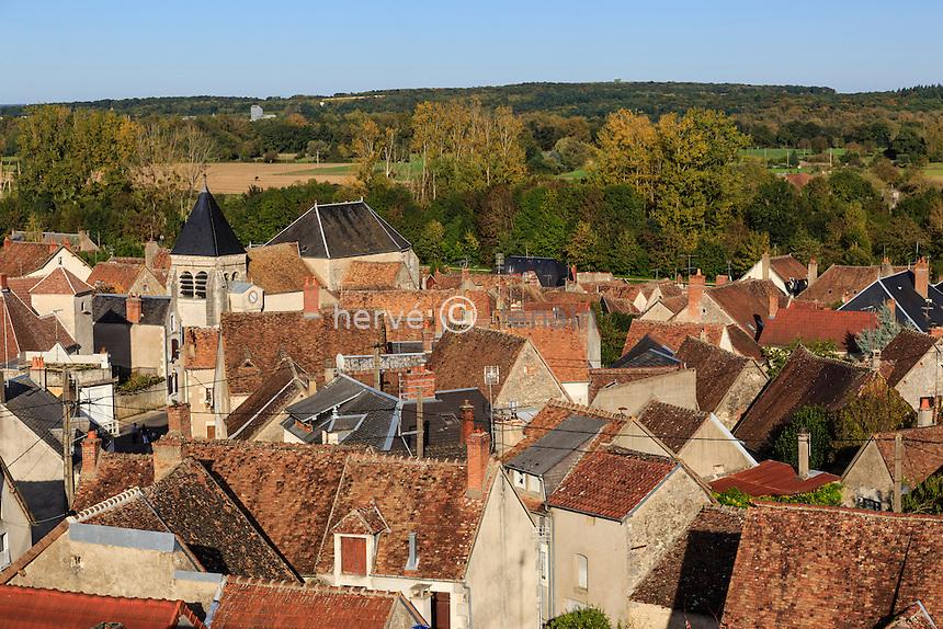France, Cher (18), région du Berry, Ménétréol-sous-Sancerre, les toits du village vu depuis le viaduc // France, Cher, Menetreol-sous-Sancerre, the village viewed from the viaduct