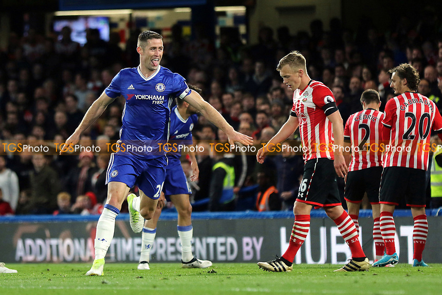 Gary Cahill celebrates scoring Chelsea's second goal during Chelsea vs Southampton, Premier League Football at Stamford Bridge on 25th April 2017