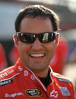 Oct. 9, 2009; Fontana, CA, USA; NASCAR Sprint Cup Series driver Juan Pablo Montoya during qualifying for the Pepsi 500 at Auto Club Speedway. Mandatory Credit: Mark J. Rebilas-
