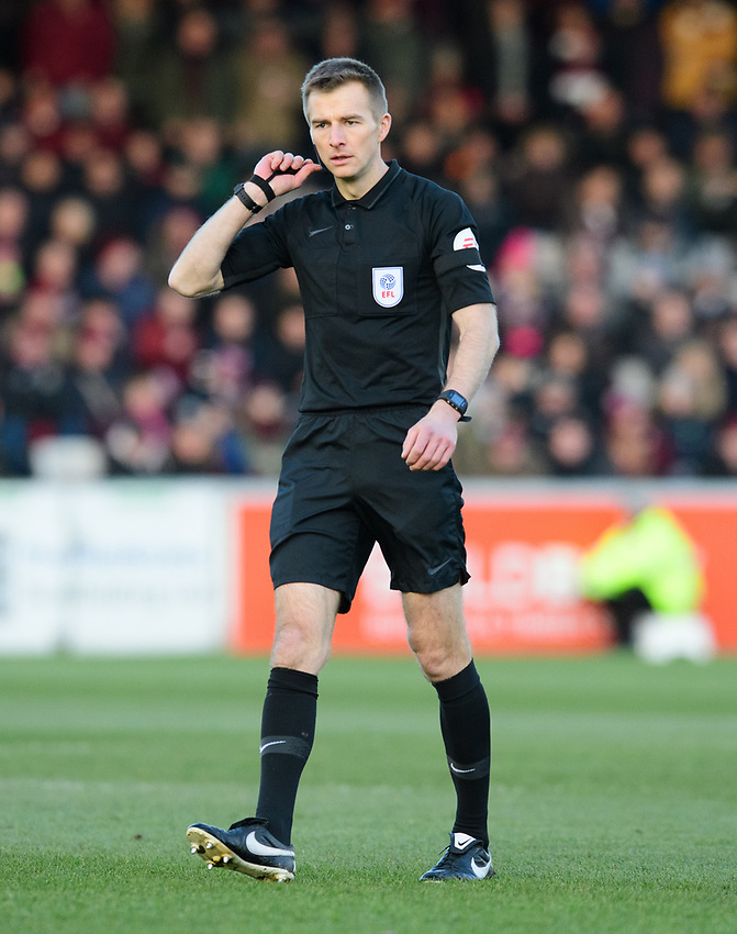 Referee Michael Salisbury<br /> <br /> Photographer Chris Vaughan/CameraSport<br /> <br /> The EFL Sky Bet League Two - Lincoln City v Northampton Town - Saturday 9th February 2019 - Sincil Bank - Lincoln<br /> <br /> World Copyright © 2019 CameraSport. All rights reserved. 43 Linden Ave. Countesthorpe. Leicester. England. LE8 5PG - Tel: +44 (0) 116 277 4147 - admin@camerasport.com - www.camerasport.com