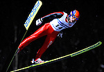 HEUNG-CHUL CHOI of South Korea soars through the air during the FIS World Cup Ski Jumping in Sapporo, northern Japan in February, 2008.
