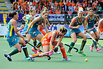 The Hague, Netherlands, June 14: Players of Australia look on as Ellen Hoog #19 of The Netherlands tries to score during the field hockey gold medal match (Women) between Australia and The Netherlands on June 14, 2014 during the World Cup 2014 at Kyocera Stadium in The Hague, Netherlands. Final score 2-0 (2-0)  (Photo by Dirk Markgraf / www.265-images.com) *** Local caption *** Madonna Blyth #12 of Australia, Kate Jenner #22 of Australia,Kirstin Dwyer #6 of Australia, Ellen Hoog #19 of The Netherlands, Jodie Kenny #7 of Australia, Anna Flanagan #9 of Australia