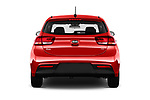 Straight rear view of a 2018 KIA Rio EX 5 Door Hatchback stock images