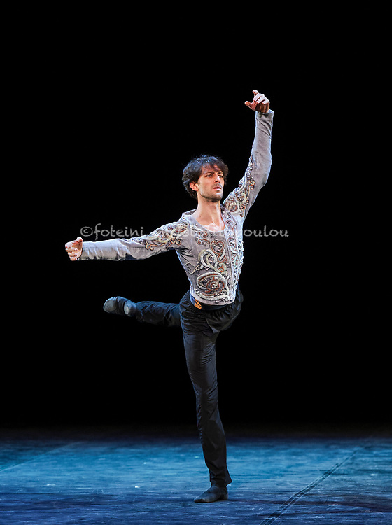 London, UK. 22.11.2017. 'Men in Motion' Ivan Putrov's celebration of the male dancer returns to the London Coliseum, 22-23 Nov 2017. Photo shows: Ganio Etoile dancing Prince's solo from Nureyev's Swan. LakePhoto - © Foteini Christofilopoulou.