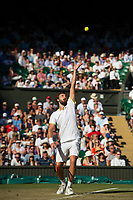 Ernests Gulbis of Latvia in action during his defeat by  Novak Djokovic of Serbia in their Men's Singles Third Round Match today - Djokovic def Gulbis 6-4, 6-1, 7-6<br /> <br /> Photographer Ashley Western/CameraSport<br /> <br /> Wimbledon Lawn Tennis Championships - Day 6 - Saturday 8th July 2017 -  All England Lawn Tennis and Croquet Club - Wimbledon - London - England<br /> <br /> World Copyright &not;&copy; 2017 CameraSport. All rights reserved. 43 Linden Ave. Countesthorpe. Leicester. England. LE8 5PG - Tel: +44 (0) 116 277 4147 - admin@camerasport.com - www.camerasport.com