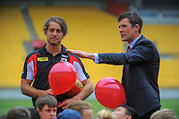 Wellington deputy mayor Justin Lester with St Kilda AFL player Josh Saunders (left)  at the AFL celebration of 100 day countdown until the ANZAC Centenary at Westpac Stadium, Wellington, New Zealand on Wednesday, 15 January 2015. Photo: Dave Lintott / lintottphoto.co.nz