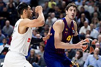 Artem Pustovyi of Real Madrid and Ante Tomic of FC Barcelona Lassa during Turkish Airlines Euroleague match between Real Madrid and FC Barcelona Lassa at Wizink Center in Madrid, Spain. December 13, 2018. (ALTERPHOTOS/Borja B.Hojas) /NortePhoto.com