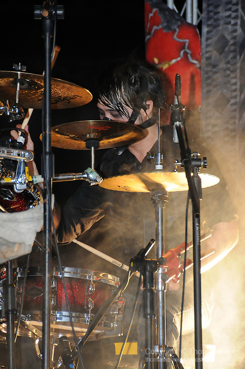 Puli, Taiwan -- Dani 'Azathothian Hands' Wang, drummer of the Taiwanese Black Metal band ChthoniC at the 'Final Battle at Sing Ling Temple' concert in Puli, Nantou county.