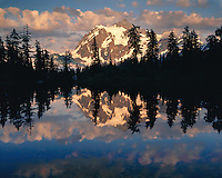 Sunset light on Mt. Shuksan reflected in Highwood Lake; Mt. Baker/Snoqualmie National Forest, WA