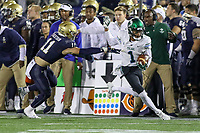 Annapolis, MD - October 26, 2019: Tulane Green Wave wide receiver Jalen McCleskey (1) gets pushed out of bounds during the game between Tulane and Navy at  Navy-Marine Corps Memorial Stadium in Annapolis, MD.   (Photo by Elliott Brown/Media Images International)