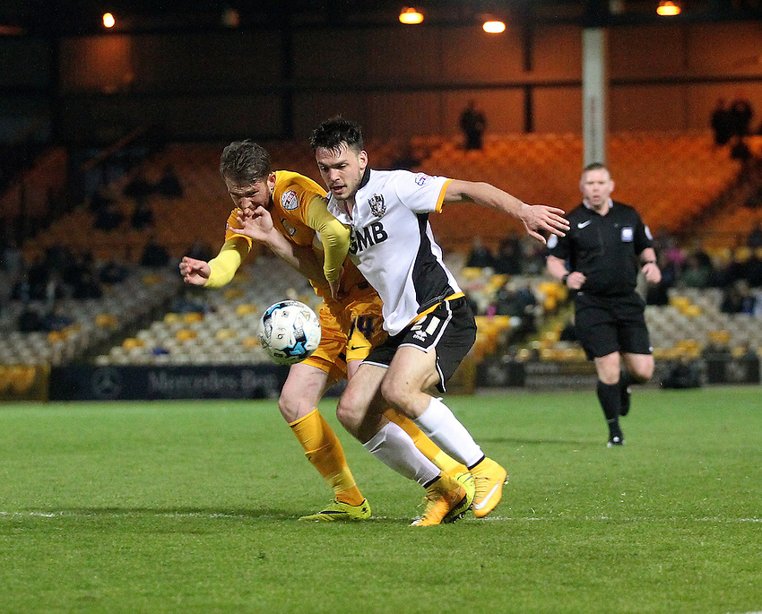 Preston North End's Joe Garner battles with Port Vale's Frederic Veseli<br /> <br /> Photographer Mick Walker/CameraSport<br /> <br /> Football - The Football League- Sky Bet League One - Port Vale v Preston North End - Friday 17th  April  2015 - Vale Park - Burslem<br /> <br /> &not;&copy; CameraSport - 43 Linden Ave. Countesthorpe. Leicester. England. LE8 5PG - Tel: +44 (0) 116 277 4147 - admin@camerasport.com - www.camerasport.com