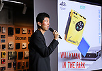 """July 1, 2019, Tokyo, Japan - Sony Enterprise president Daisuke Nagano delivers a speech for an exhibition to celebrate Walkman's 40th anniversary """"Walkman in the Park"""" which will be carried through September 1 at the Ginza Sony park in Tokyo on Monday, July 1, 2019. The first Walkman TPS-L2, portable stereo cassette player was born in July 1, 1979.    (Photo by Yoshio Tsunoda/AFLO)"""