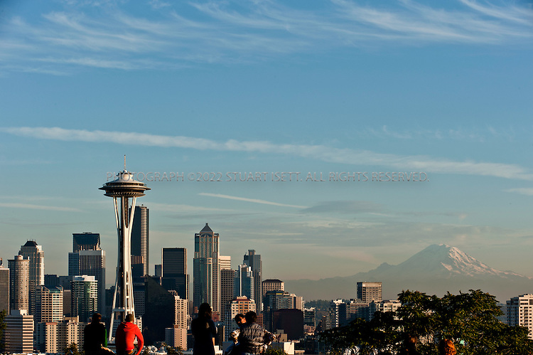 10/19/2010--Seattle, WA, USA..A view of downtown Seattle from Kinnear Park in Seattle, with Mt. Rainier in the distance and Elliot Bay to the west...Photograph By Stuart Isett