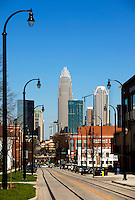 Trolley and light rail lines run through downtown / uptown / center city Charlotte North Carolina.  Photo by Charlotte, North Carolina photographer Patrick Schneider.