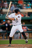 Lakeland Flying Tigers first baseman Blaise Salter (21) at bat during a game against the Tampa Tarpons on April 5, 2018 at Publix Field at Joker Marchant Stadium in Lakeland, Florida.  Tampa defeated Lakeland 4-2.  (Mike Janes/Four Seam Images)