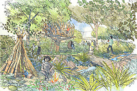 "Illustration of Kate Duchess of Cambridge's design for her ""Back To Nature"" garden, which will be entered at the RHS Chelsea Flower Show in May. The woodland wilderness garden aims to get people back to nature and highlight the benefits of the natural world on physical and mental wellbeing. It will feature a swing seat, a rustic den and a campfire, with a centrepiece of a high platform treehouse. Photo Credit: ALPR/AdMedia"