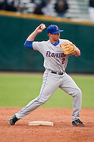 March 29, 2011:    Florida Gators inf Josh Adams (2) throws from second base during action between Florida Gators and Florida State Seminoles played at the Baseball Grounds of Jacksonville in Jacksonville, Florida.  Florida State defeated Florida 5-2............