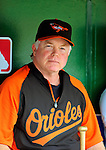 19 June 2011: Baltimore Orioles' Manager Buck Showalter sits in the dugout prior to a game against the Washington Nationals at Nationals Park in Washington, District of Columbia. The Orioles defeated the Nationals 7-4 in inter-league play, ending Washington's 8-game winning streak. Mandatory Credit: Ed Wolfstein Photo
