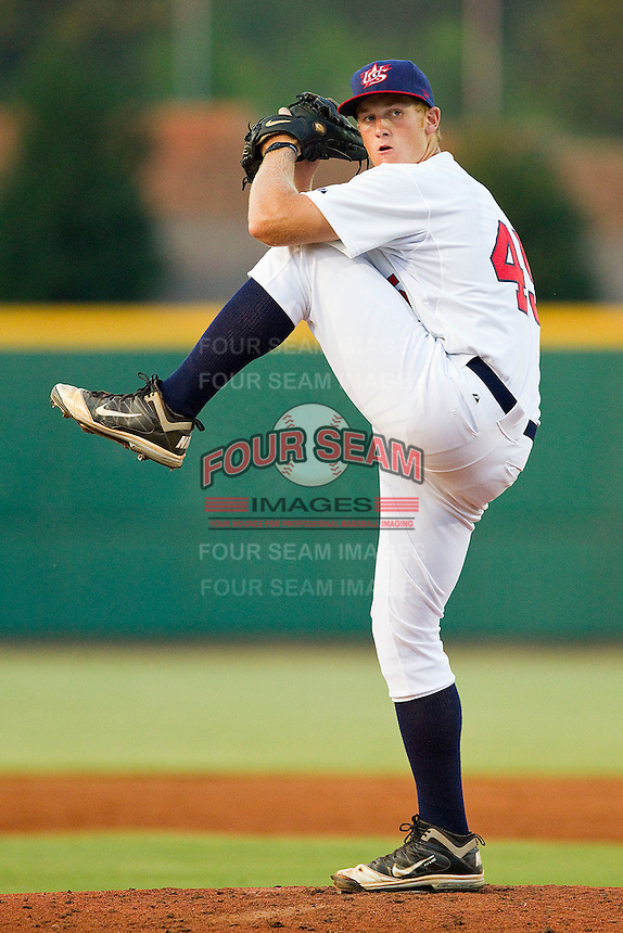 Ty Hensley #45 of the USA 18u National Team in action against the USA Baseball Collegiate National Team at the USA Baseball National Training Center on July 2, 2011 in Cary, North Carolina.  The College National Team defeated the 18u team 8-1.  Brian Westerholt / Four Seam Images
