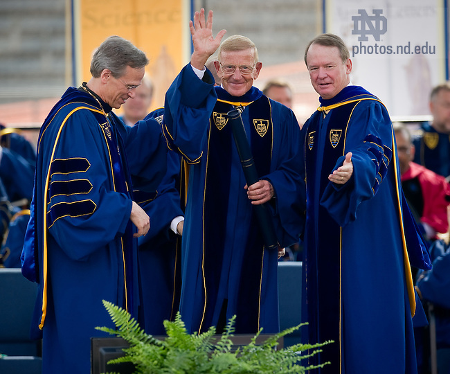 May 22, 2011; Lou Holtz waves to the crowd after receiving an honorary degree at the 2011 Commencement ceremony...Photo by Matt Cashore/University of Notre Dame