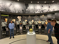 Weltmeisterelf von 1954 mit dem original Spielball des Finales/Wunder von Bern in der Ausstellung des Deutschen Fu&szlig;ballmuseum in Dortmund  - 08.02.2019: Deutsches Fu&szlig;ballmuseum in Dortmund<br /> DISCLAIMER: DFL regulations prohibit any use of photographs as image sequences and/or quasi-video.