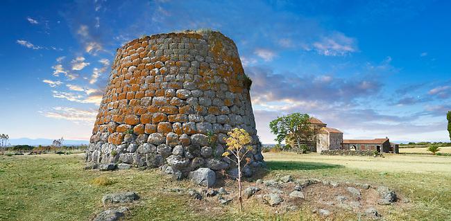 Picture and image of the Byzantine Romanesque church of Santa Sabina and the prehistoric Nuragic ruins of Nuraghe Santa Sabina, archaeological site, Middle Bronze age , Silanus ,  Sardinia.