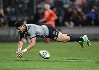 Rieko Ioane scores during the Game of Three Halves match between the NZ All Blacks and Otago at AMI Stadium in Christchurch, New Zealand on Friday, 10 August 2018. Photo: Martin Hunter / lintottphoto.co.nzz
