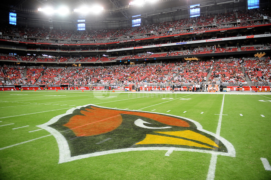 Sept. 26, 2010; Glendale, AZ, USA; Detailed view of the Arizona Cardinals logo on the field prior to the game against the Oakland Raiders at University of Phoenix Stadium. The Cardinals defeated the Raiders 24-23. Mandatory Credit: Mark J. Rebilas-